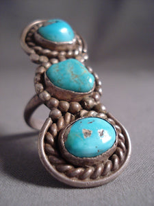 Towering Tripod Vintage Navajo Turquoise Nugget Native American Jewelry Silver Ring-Nativo Arts