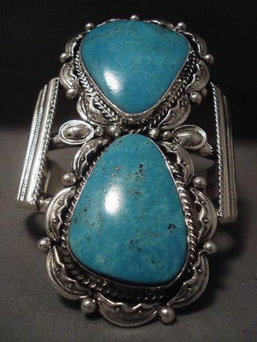 Towering Vintage Navajo Blue Diamond Turquoise Native American Jewelry Silver Bracelet- Over 100 Grams-Nativo Arts