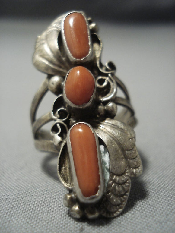 Towering Vintage Navajo Coral Sterling Native American Jewelry Silver Ring-Nativo Arts