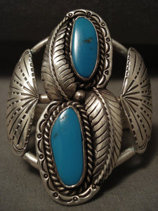 Towering Vintage Navajo Deep Blue Turquoise Native American Jewelry Silver Fan Bracelet-Nativo Arts
