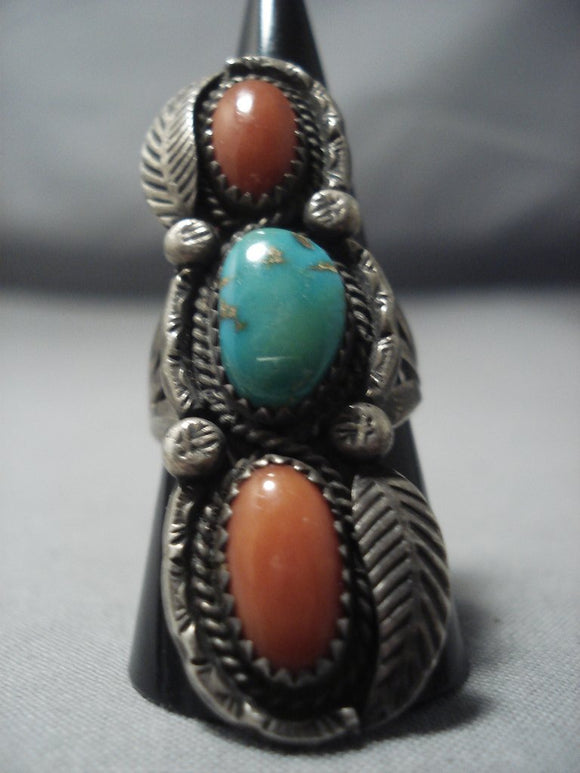 Towering Vintage Navajo Green Royston Turquoise Sterling Native American Jewelry Silver Ring Old-Nativo Arts