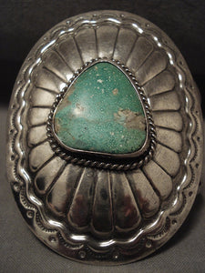 Towering Vintage Navajo Green Turquoise Native American Jewelry Silver Bracelet Old-Nativo Arts