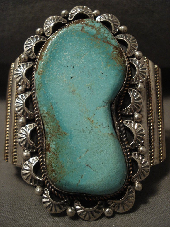 Towering Vintage Navajo Green Turquoise Native American Jewelry Silver Bracelet-Nativo Arts