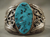 Towering Vintage Navajo Old Kingman Turquoise Native American Jewelry Silver Bracelet-Nativo Arts