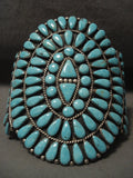 Towering Vintage Navajo Turquoise Native American Jewelry Silver Bracelet-Nativo Arts