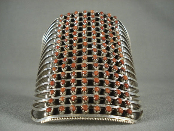 Towering Vintage Zuni Coral Native American Jewelry Silver Bracelet-Nativo Arts