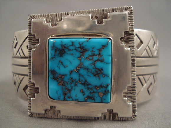 Trapezoid And Square Vintage Navajo Turquoise Sterling Native American Jewelry Silver Bracelet-Nativo Arts
