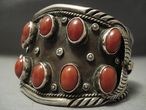Tremendous Huge Coral! Vintage Navajo Sterling Native American Jewelry Silver Bracelet Old Pawn-Nativo Arts