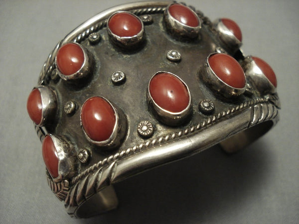 Tremendous Huge Coral! Vintage Navajo Sterling Native American Jewelry Silver Bracelet Old Pawn