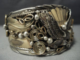 Tremendous Important Chee Vintage Navajo Real Gold Sterling Native American Jewelry Silver Bracelet Old-Nativo Arts