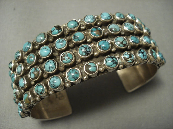 Tremendous Navajo 'Snake Eyes Crow Springs Turquoise' Sterling Native American Jewelry Silver Bracelet