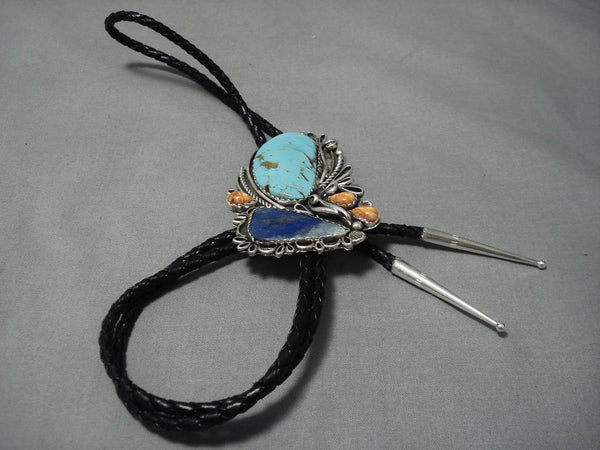 Tremendous Vintage Native American Navajo Blue Gem Turquoise Sterling Silver Bolo Tie-Nativo Arts