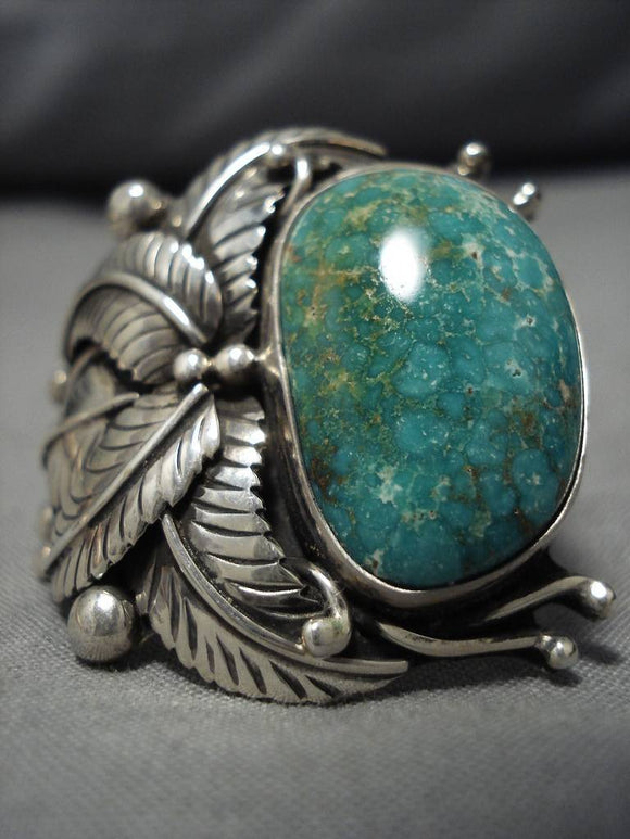 Tremendous Vintage Native American Navajo Carico Lake Turquoise Sterling Silver Ring Old-Nativo Arts