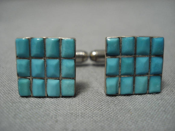 Tremendous Vintage Native American Navajo Turquoise Sterling Silver Cuff Links Cufflinks-Nativo Arts