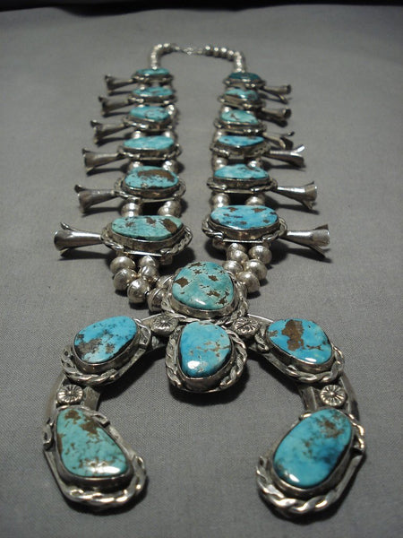 Tremendous Vintage Native American Navajo Turquoise Sterling Silver Squash Blossom Necklace