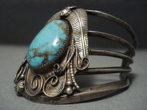Tremendous Vintage Navajo Bisbee Turquoise Sterling Native American Jewelry Silver Bracelet Old-Nativo Arts