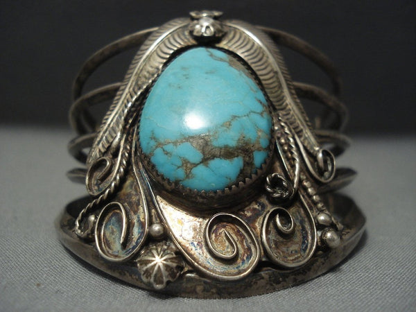 Tremendous Vintage Navajo Bisbee Turquoise Sterling Native American Jewelry Silver Bracelet Old