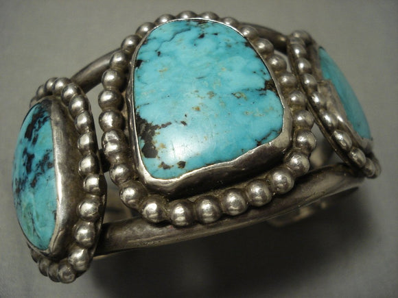 Tremendous Vintage Navajo Blue Diamond Turquoise Native American Jewelry Silver Bracelet-Nativo Arts