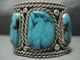 Tremendous Vintage Navajo Blue Diamond Turquoise Sterling Native American Jewelry Silver Bracelet Old-Nativo Arts