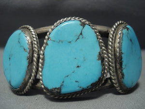 Tremendous Vintage Navajo Blue Diamond Turquoise Sterling Native American Jewelry Silver Bracelet-Nativo Arts