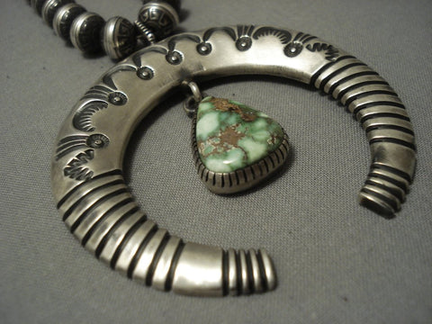 Tremendous Vintage Navajo Green Royston Turquoise Sterling Native American Jewelry Silver Necklace-Nativo Arts