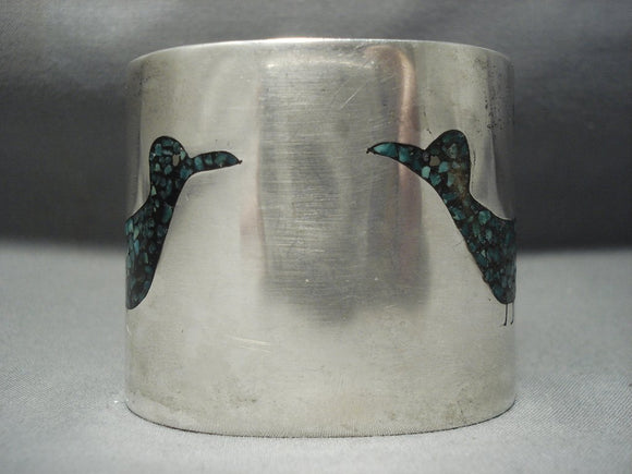 Tremendous Vintage Navajo Green Turquoise Bird Sterling Native American Jewelry Silver Bracelet-Nativo Arts