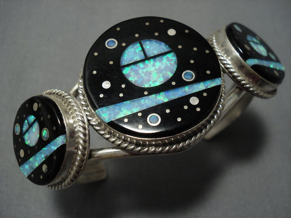 Tremendous Vintage Navajo Native American Jewelry jewelry Midnight Space Will Dawes Sterling Silver Bracelet-Nativo Arts