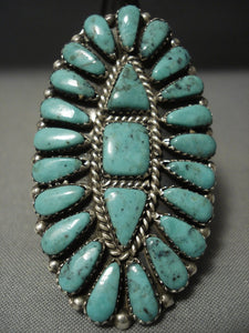 Tremendous Vintage Navajo Teardrop Turquoise Native American Jewelry Silver Ring-Nativo Arts