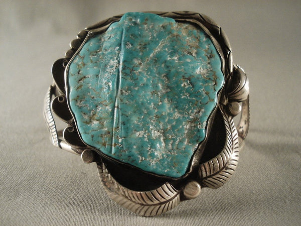 Turquoise Chunk Old Vintage Navajo Huge Sterling Native American Jewelry Silver Bracelet