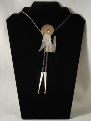 Twilight Moon Howling Coyote Vintage Navajo Native American Jewelry Silver Bolo Tie-Nativo Arts