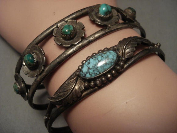 Two Famous Mine Vintage Navajo Native American Jewelry Silver Bracelets-Nativo Arts