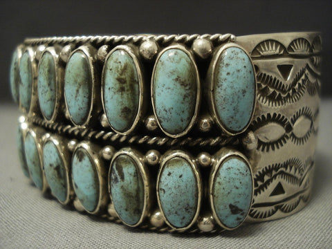 Two Rows Of Stunning Blue Diamond Turquoise Navajo Sterling Native American Jewelry Silver Bracelet-Nativo Arts
