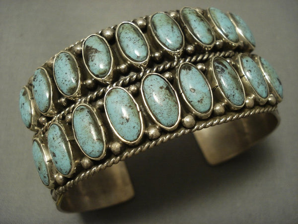 Two Rows Of Stunning Blue Diamond Turquoise Navajo Sterling Native American Jewelry Silver Bracelet