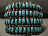 Ultra Wide Ultra Old Vintage Zuni/ Navajo Rectangled Turquoise Native American Jewelry Silver Bracelet-Nativo Arts