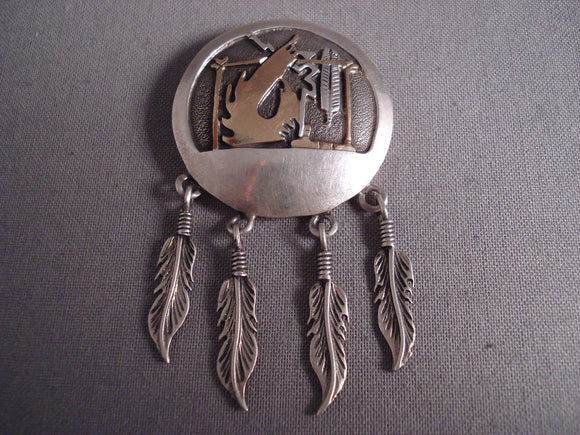 Unique! Huge Vintage Navajo Dangling Native American Jewelry Silver And Gold Feather Pin-Nativo Arts