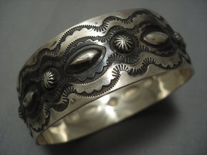 Unique! Navajo Sterling Native American Jewelry Silver Repoussed Bangle Bracelet-Nativo Arts