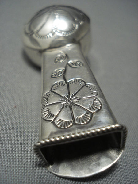 Unique Vintage Navajo Flower Vase Sterling Native American Jewelry Silver Pin Old Pawn
