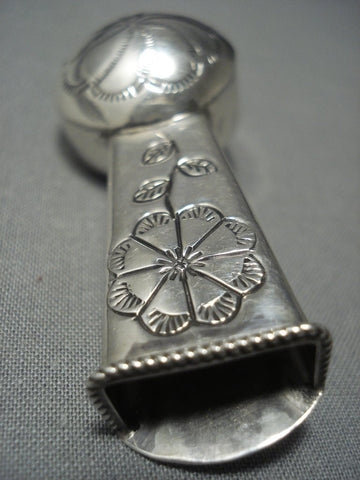 Unique Vintage Navajo Flower Vase Sterling Native American Jewelry Silver Pin Old Pawn-Nativo Arts