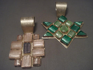 Unique Vintage Navajo Italian Glass Native American Jewelry Silver Pendants Huge!-Nativo Arts