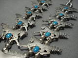 Unique Vintage Navajo Native American Jewelry jewelry Horse Turquoise Sterling Silver Squash Blossom Necklace-Nativo Arts