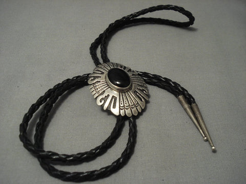 Unique! Vintage Navajo Thomas Singer Onyx Sterling Native American Jewelry Silver Bolo Tie Old Pawn-Nativo Arts