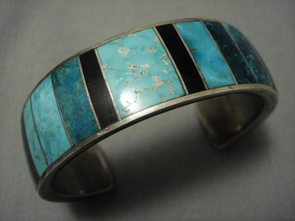 Unique! Vintage Zuni/ Navajo Onyx Royston Green Turquoise Native American Jewelry Silver Bracelet