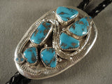 Unique Vintage Zuni Snake Turquoise Native American Jewelry Silver Bolo Tie-Nativo Arts