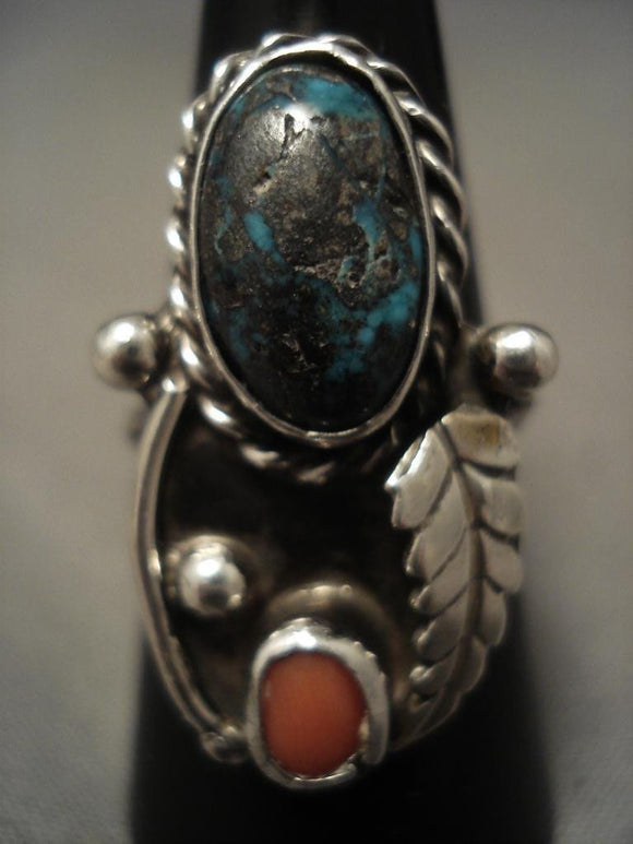 Useum Vintage Navajo real Bisbee Turquoise Native American Jewelry Silver Ring-Nativo Arts