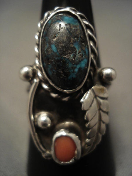 Useum Vintage Navajo real Bisbee Turquoise Native American Jewelry Silver Ring