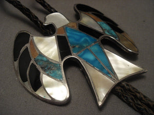 Very Big And Very Old Navajo Eagle Inlay Turquoise Native American Jewelry Silver Bolo Tie Vtg-Nativo Arts