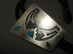 Very Brare Vintage Navajo inlay Will Yazzie Native American Jewelry Silver Bolo Tie-Nativo Arts