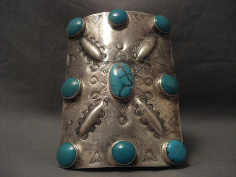 Very Early Vintage Navajo Huge Turquoise Native American Jewelry Silver Ketoh Bracelet-1930's-Nativo Arts