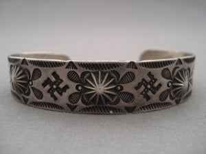 Very Early Vintage Navajo Whirling Logs Native American Jewelry Silver Repoussed Bracelet-Nativo Arts