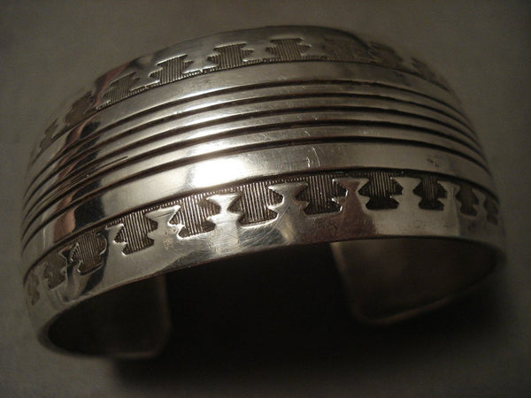 Very Important 'Navajo Codetalker Son' Hand Wrought Native American Jewelry Silver Bracelet